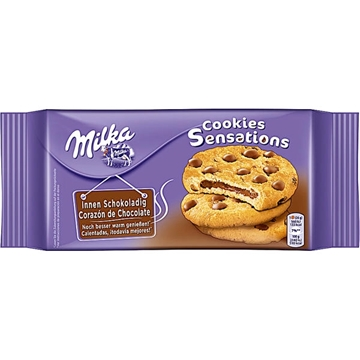 Billede af Milka Cookie Sensations innen schokoladig 156 g.