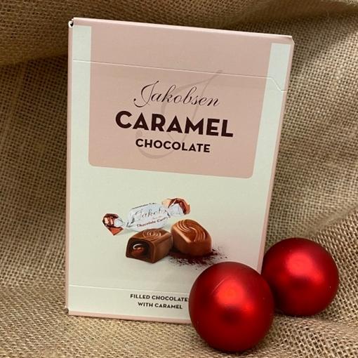 Billede af Jakobsen Karamel Chokolade 125 g. MHT. 17-07-2021