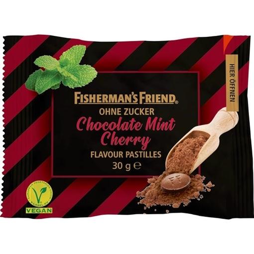 Billede af Fisherman's Friend Chokolade Mint Kirsebær u/sukker 30 g.